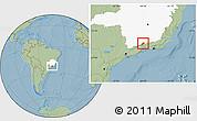 Savanna Style Location Map of Bocaina de Mina, highlighted parent region, hill shading