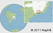 Savanna Style Location Map of Bocaina de Mina, highlighted parent region