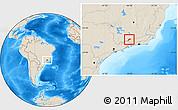 Shaded Relief Location Map of Bocaina de Mina