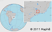 Gray Location Map of Carmo de Minas