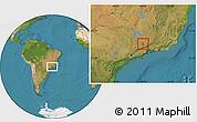 Satellite Location Map of Carmo de Minas