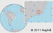 Gray Location Map of Coronel Pacheco