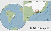 Savanna Style Location Map of Itamonte, highlighted parent region, hill shading