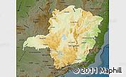 Physical Map of Minas Gerais, darken