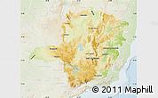 Physical Map of Minas Gerais, lighten