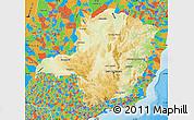 Physical Map of Minas Gerais, political outside