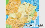 Physical Map of Minas Gerais, political shades outside