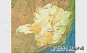 Physical Map of Minas Gerais, satellite outside
