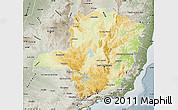 Physical Map of Minas Gerais, semi-desaturated