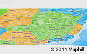 Political Shades Panoramic Map of Minas Gerais
