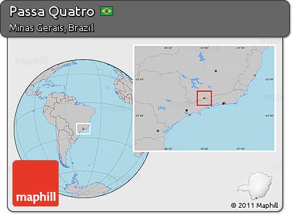Gray Location Map of Passa Quatro