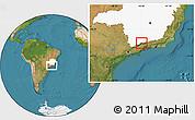 Satellite Location Map of Passa Quatro, highlighted parent region