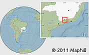 Savanna Style Location Map of Passa Quatro, highlighted parent region, hill shading