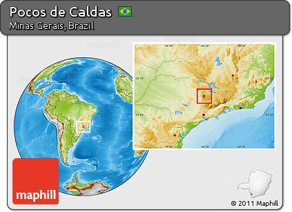 Physical Location Map of Pocos De Caldas