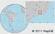 Gray Location Map of Rio Preto