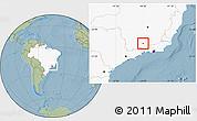 Savanna Style Location Map of Seritinga, highlighted country, hill shading