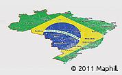 Flag Panoramic Map of Brazil
