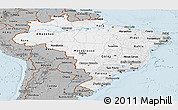 Gray Panoramic Map of Brazil