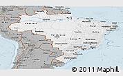 Gray Panoramic Map of Brazil