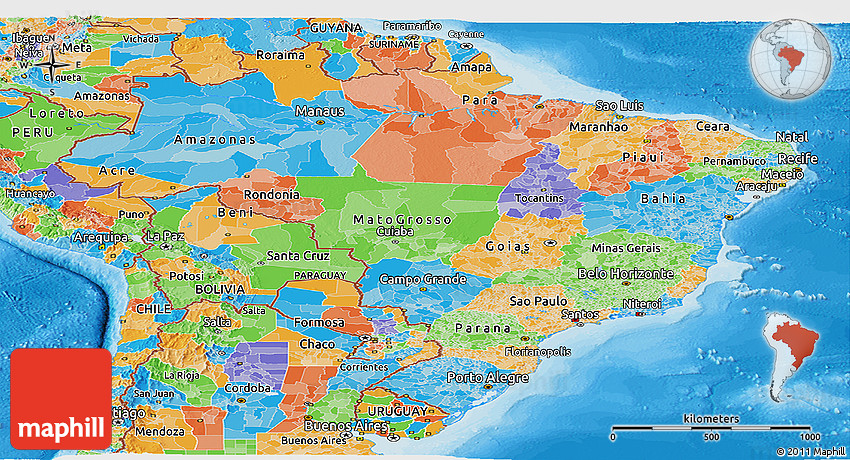 Political Panoramic Map of Brazil