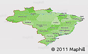 Political Shades Panoramic Map of Brazil, cropped outside