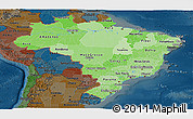 Political Shades Panoramic Map of Brazil, darken