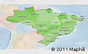 Political Shades Panoramic Map of Brazil, lighten