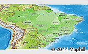 Political Shades Panoramic Map of Brazil, physical outside