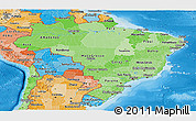 Political Shades Panoramic Map of Brazil