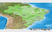 Political Shades Panoramic Map of Brazil, satellite outside, bathymetry sea