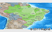 Political Shades Panoramic Map of Brazil, semi-desaturated, land only