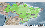 Political Shades Panoramic Map of Brazil, semi-desaturated