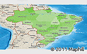 Political Shades Panoramic Map of Brazil, shaded relief outside, bathymetry sea