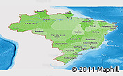 Political Shades Panoramic Map of Brazil, single color outside