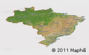 Satellite Panoramic Map of Brazil, cropped outside
