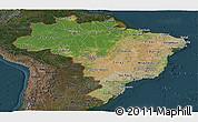 Satellite Panoramic Map of Brazil, darken