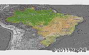 Satellite Panoramic Map of Brazil, desaturated