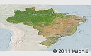 Satellite Panoramic Map of Brazil, lighten