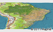 Satellite Panoramic Map of Brazil, physical outside, satellite sea