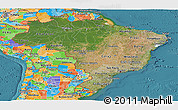 Satellite Panoramic Map of Brazil, political outside, satellite sea