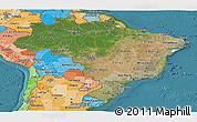 Satellite Panoramic Map of Brazil, political shades outside, satellite sea