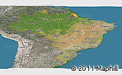 Satellite Panoramic Map of Brazil, semi-desaturated, land only