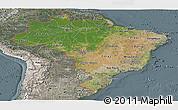 Satellite Panoramic Map of Brazil, semi-desaturated