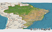 Satellite Panoramic Map of Brazil, shaded relief outside, satellite sea