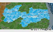 Political Shades 3D Map of Paraiba, darken