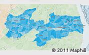 Political Shades 3D Map of Paraiba, lighten