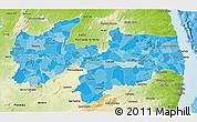 Political Shades 3D Map of Paraiba, physical outside