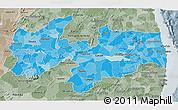 Political Shades 3D Map of Paraiba, semi-desaturated