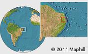 Satellite Location Map of Aracagi