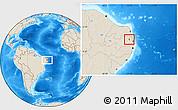 Shaded Relief Location Map of Aracagi